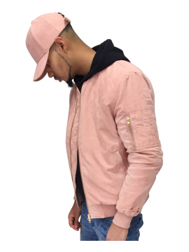 DSLINE X Canvas And Colors Bomber Fly Jacket Suede in Pink