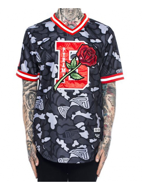 Black Pyramid B Rose Baseball Jersey Black