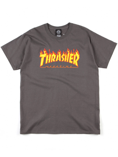 Thrasher Flame Logo Tee Charcoal Grey