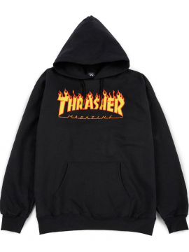 Sweat Capuche Thrasher Flame Logo Noir