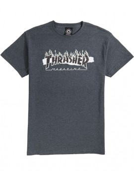Thrasher Ripped T-Shirt Gris Sombre