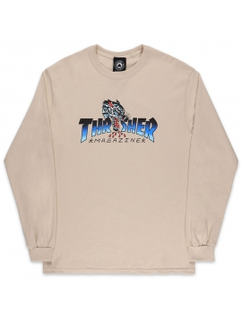 Thrasher T-Shirt Manches Longues Leopard Mag Beige